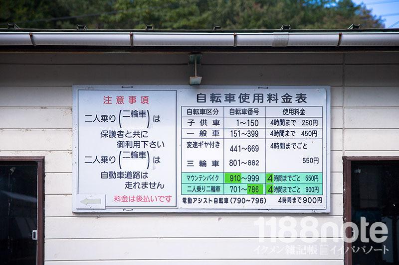 土師ダムのレンタルサイクル料金