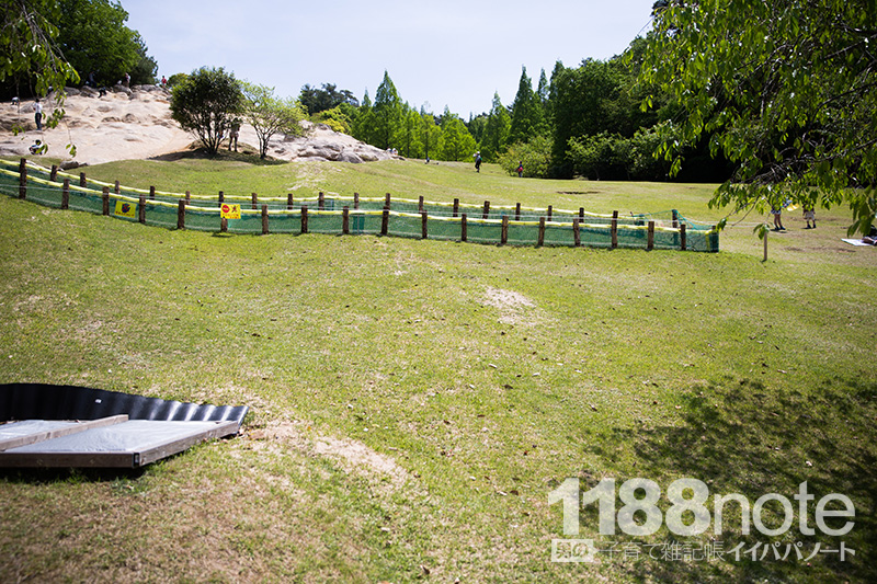 広島市森林公園の芝滑り