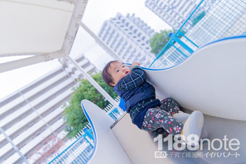 坂なぎさ公園の赤ちゃん用すべり台