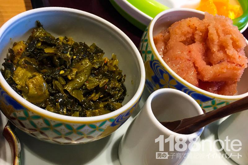 広島駅やまや食べ放題の明太子と高菜