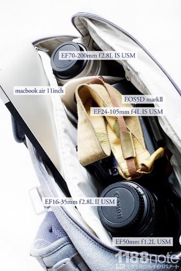 EF70-200f2.8Lが入るカメラバッグ