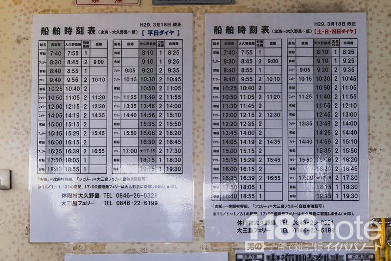 大久野島フェリーの時刻表